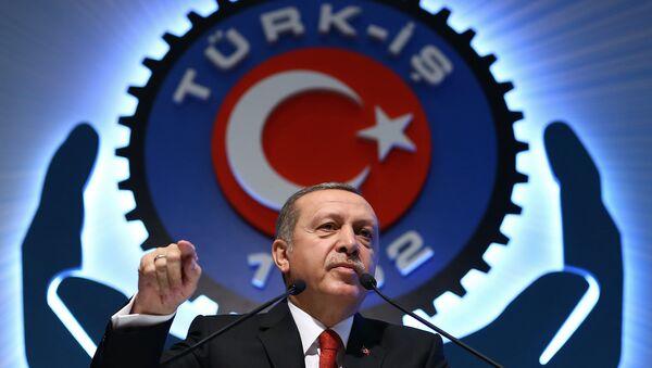 Turkey's President Recep Tayyip Erdogan addresses a labor union meeting in Ankara, Turkey, Thursday, Dec. 3, 2015. - Sputnik International