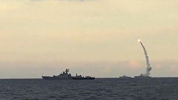 Russia's Caspian Fleet launches a massive attack involving 18 Kalibr-NK cruise missiles on 7 terrorist positions in the Syrian provinces of al-Raqqah, Idlib and Aleppo - Sputnik International