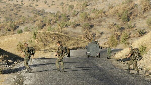 Turkish commando troops patrol on a road in the southeastern province of Sirnak at the Turkish-Iraqi border (File) - Sputnik International