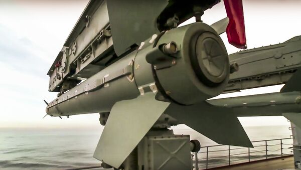 In this photo made from the footage taken from Russian Defense Ministry official web site on Friday, Nov. 27, 2015, the Osa missile defense system on the Russian missile cruiser Moskva is seen near the shore of Syria's province of Latakia, Syria - Sputnik International