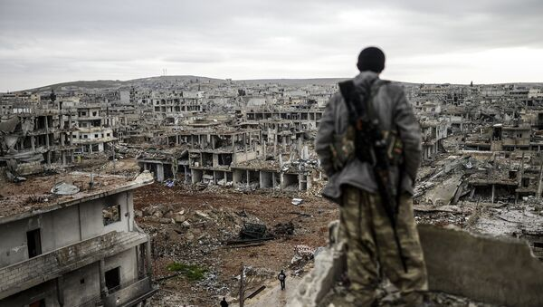 Musa, a 25-year-old Kurdish marksman, stands atop a building as he looks at the destroyed Syrian town of Kobane, also known as Ain al-Arab, on January 30, 2015 - Sputnik International