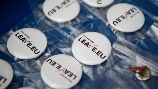 Campaign merchandise is on display at a stall before a press briefing by the Leave.EU campaign group in central London on November 18, 2015. - Sputnik International