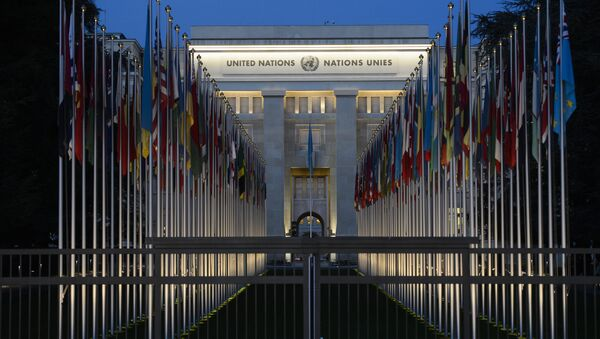 A picture taken on December 10, 2015 shows the United Nations headquarters in Geneva at dusk - Sputnik International