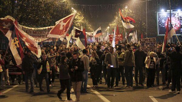 Demonstrators take part in an anti-NATO protest march in Podgorica, Montenegro - Sputnik International