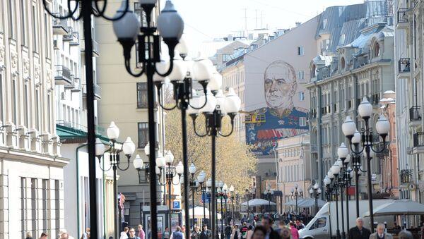 Graffiti with Marshal Georgy Zhukov on Moscow's Arbat Street - Sputnik International