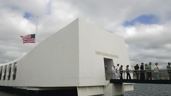 USS Arizona Memorial during the 68th anniversary ceremony of the attack on Pearl Harbor at cNaval Base in Honolulu. (File) - Sputnik International