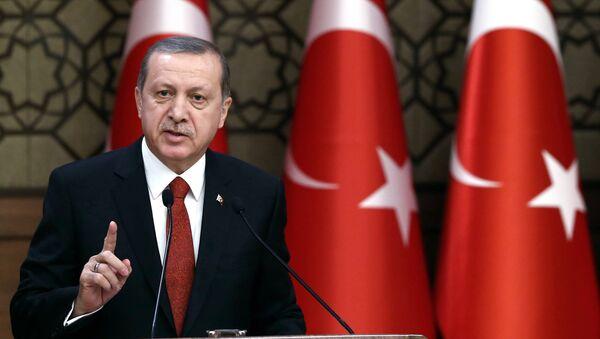 Turkey's President Recep Tayyip Erdogan addresses a meeting in Ankara, Turkey. - Sputnik International
