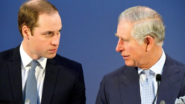 Britain's Prince William, left and Prince Charles, talk, during the Illegal Wildlife Trade Conference held in London, Thursday Feb. 13, 2014. - Sputnik International