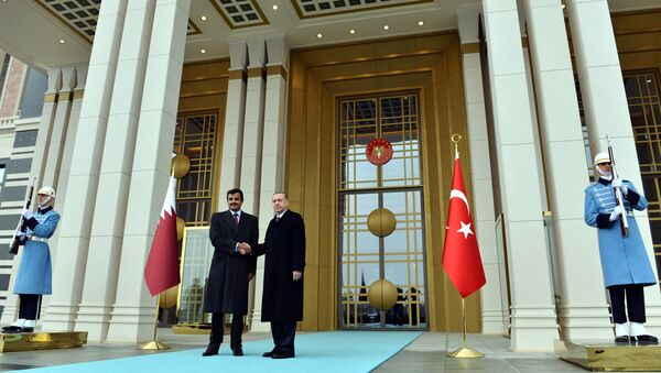 Turkish President Recep Tayyip Erdogan, right, and Qatar's Emir Sheikh Tamim bin Hamad Al-Thani shake hands at the entrance of new presidential palace in Ankara, Turkey, Friday, Dec. 19, 2014 - Sputnik International