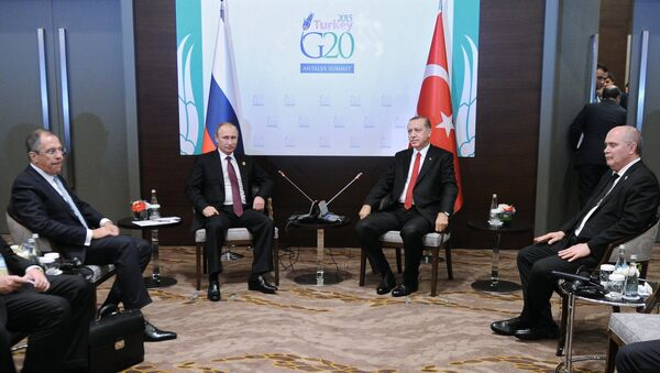November 15, 2015. Russian President Vladimir Putin, second left, and Turkish President Recep Tayyip Erdogan, second right, during a meeting on the sidelines of the Group of 20 summit in Antalya, Turkey - Sputnik International