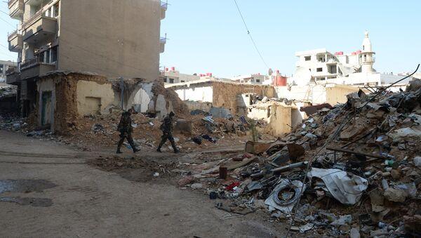 Soldiers of the Syrian Arab Army in Darayya, a Damascus suburb - Sputnik International