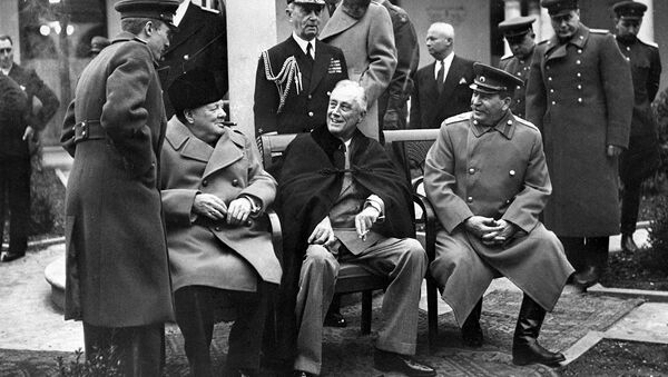 The Yalta (Crimean) conference of three allied powers on February 4-11, 1945. In the center (seating from left to right): British Prime Minister Winston Churchill, US President Franklin Delano Roosevelt and Marshal of the USSR Joseph Stalin - Sputnik International