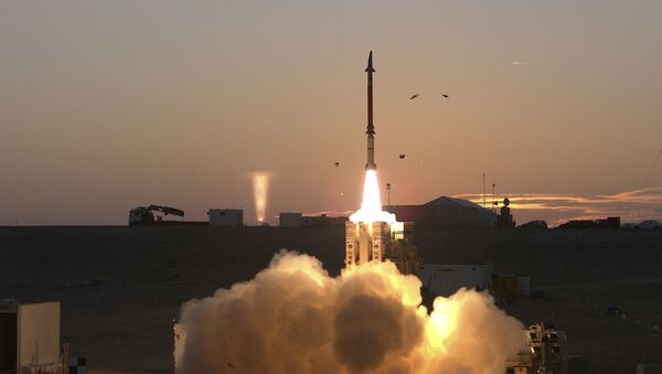 This photograph provided by the Israeli Ministry of Defense on Monday Dec. 21, 2015 shows a launch of David's Sling missile defense system. David's Sling is intended to counter medium-range missiles possessed by enemies throughout the region, most notably the Lebanese Shiite militant group Hezbollah. - Sputnik International