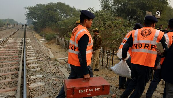 Members of the National Disaster Response Force (NDRF) direct operations near the crash site of a chartered army plane close to the main airport in New Delhi on December 22, 2015 - Sputnik International