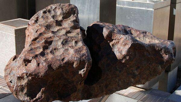 One of the Gibeon meteorites on permanent display in Post Street Mall, Windhoek. - Sputnik International