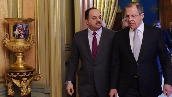 From left: Minister of Foreign Affairs of Qatar Khalid bin Mohammad Al Attiyah and Russian Foreign Minister Sergei Lavrov before the talks in Moscow - Sputnik International