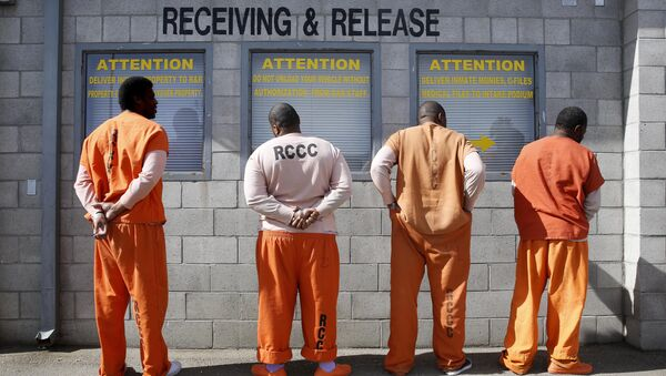 File photo, prisoners from Sacramento County await processing after arriving at the California Department of Corrections and Rehabilitation Deuel Vocational Institution (DVI) in Tracy, Calif - Sputnik International