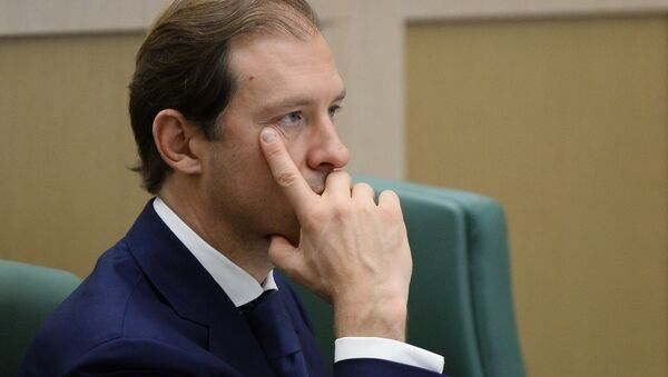 Russian Minister of Industry and Trade Denis Manturov at a Federation Council meeting - Sputnik International