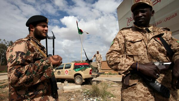Libyan security forces stands guard in Benghazi, Libya (File) - Sputnik International