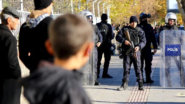 Turkish riot police stand guard during a protest against the curfew in Sur district in the Kurdish dominated southeastern city of Diyarbakir, Turkey, December 6, 2015. - Sputnik International