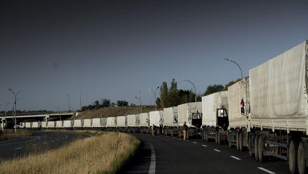 Third humanitarian aid convoy arrives in Ukraine - Sputnik International