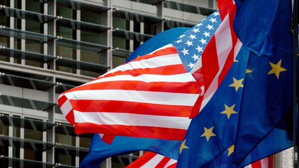 US and European flags float in front of the European Commission headquarters in Brussels 22 February 2005 - Sputnik International