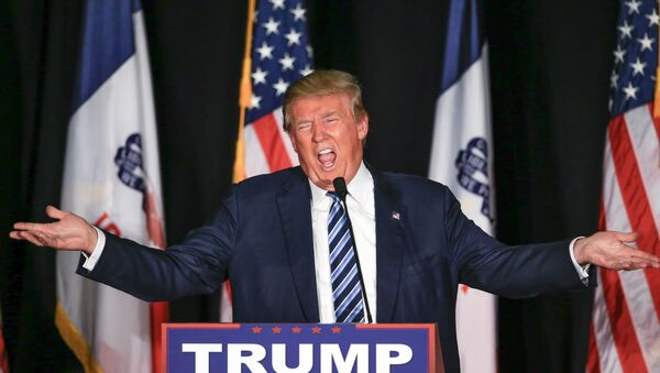 Republican presidential candidate Donald Trump speaks during a campaign stop in Council Bluffs, Iowa, Tuesday, Dec. 29, 2015. - Sputnik International