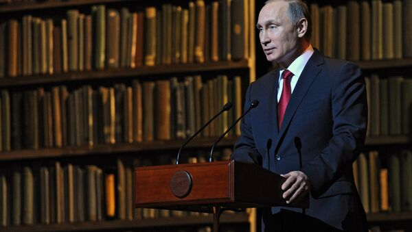 Russian President Vladimir Putin speaks at the ceremony closing the Year of Literature and opening the Year of Cinema at the State Academic Mariinsky Theater's Second Stage, December 14, 2015 - Sputnik International