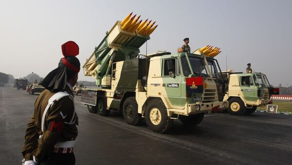 India's Pinaka 214 mm Multi Barrel Rocket Launcher System is displayed during army day parade, in New Delhi, India, Sunday, Jan. 13, 2013 - Sputnik International