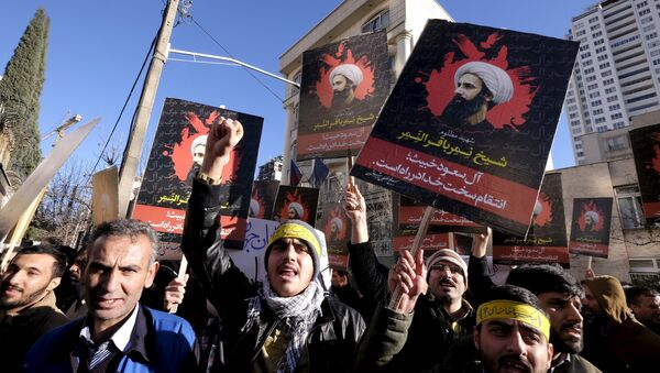 Iranian protesters chant slogans as they hold pictures of Shi'ite cleric Sheikh Nimr al-Nimr during a demonstration against the execution of Nimr in Saudi Arabia, outside the Saudi Arabian Embassy in Tehran January, 3, 2016 - Sputnik International