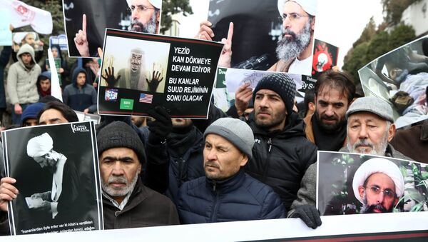 Iranian and Turkish demonstrators hold pictures of Shiite cleric Sheikh Nimr al-Nimr as they protest outside the Saudi Embassy in Ankara, on January 3, 2016, to protest against the execution by Saudi Arabia of a prominent Shiite cleric which they saw as a deliberate sectarian aggression - Sputnik International