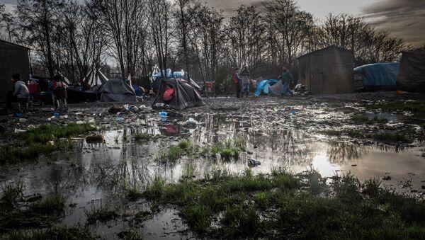 Dunkirk refugee camp surrounded by mud and puddles. - Sputnik International