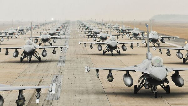 F-16 Fighting Falcons from the 35th and 80th Fighter Squadrons of the 8th Fighter Wing, Kunsan Air Base, Republic of Korea - Sputnik International