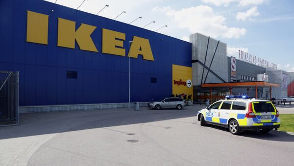 Mobile phone picture taken on August 10, 2015, shows a police car in front of an Ikea market in the central Swedish town of Vasteras  (File) - Sputnik International