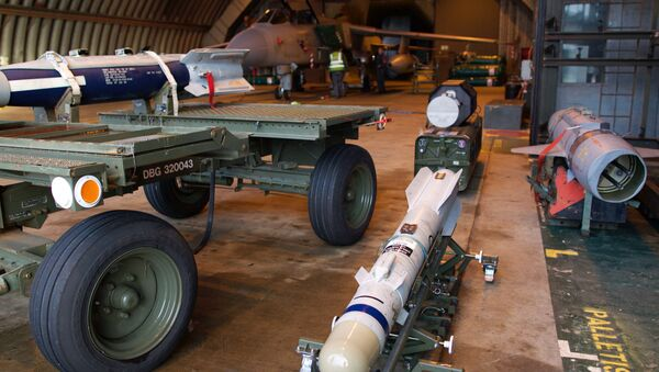 A picture shows a Brimstone missile, a rocket-propelled, radar-guided air-launched ground attack weapon designed to be carried by the Tornado GR4 and Typhoon F2, as preparations are made at the British Royal Air Force airbase RAF Marham in Norfolk in east England on December 2, 2015 to launch Tornado GR4 aircraft to operate on missions from RAF Akrotiri - Sputnik International