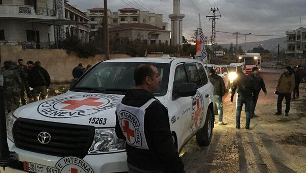 This picture provided by The International Committee of the Red Cross (ICRC), working alongside the Syrian Arab Red Crescent (SARC) and the United Nations (UN), shows a convoy containing food, medical items, blankets and other materials being delivered to the town of Madaya in Syria, Monday, Jan. 11, 2016 - Sputnik International