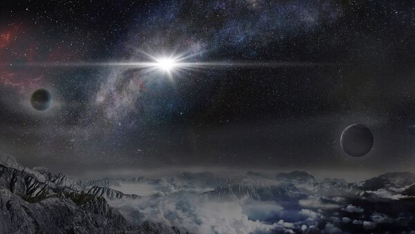 This image provided by The Kavli Foundation on Thursday, Jan. 14, 2016 shows an artist's impression of the superluminous supernova ASASSN-15lh as it would appear from an exoplanet located about 10,000 light-years away in the host galaxy of the supernova - Sputnik International