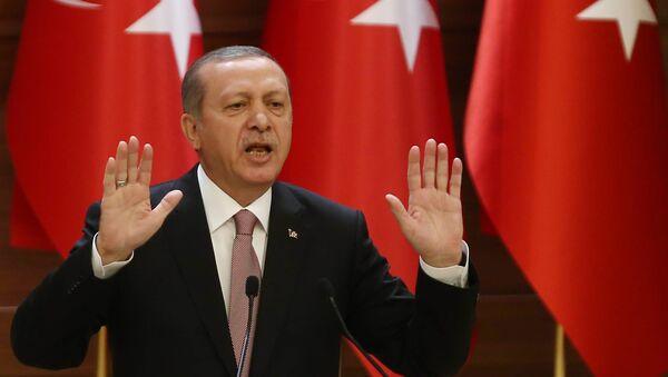 Turkish President Recep Tayyip Erdogan delivers a speech during a mukhtars meeting at the presidential palace on November 26, 2015 in Ankara - Sputnik International
