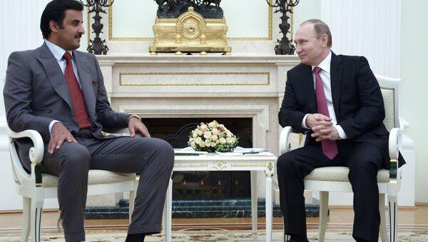 President Vladimir Putin meets with Qatar Emir Tamim bin Hamad Al-Thani - Sputnik International