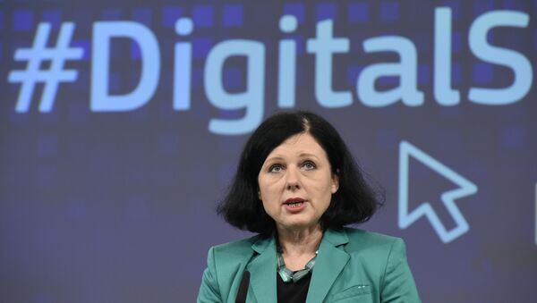 EU Commissioner of Justice, Consumers and Gender Equality Vera Jourova speaks during a joint press a joint press conference on the subject of a Creating Digital Single Market at the EU headquarters in Brussels on December 9, 2015. - Sputnik International