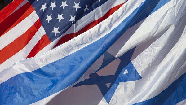 US and Israeli flags fly as U.S. Secretary of State John Kerry arrives in Tel Aviv, Israel, 24 November 2015 - Sputnik International