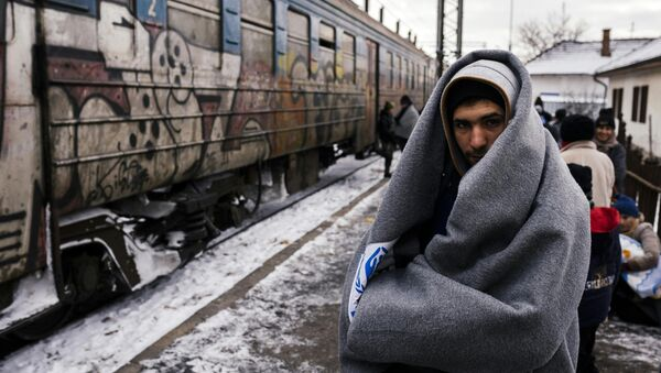 A migrant wrapped in a blanket to keep warm, waits with other migrants and refugees to board a train heading to the border with Croatia at the train station in Presevo, on January 19, 2016, after crossing the Macedonian border into Serbia - Sputnik International