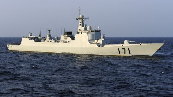 Chinese navy warship, the DDG-171 Haikou destroyer, patrols the waters of the Gulf of Aden (file photo) - Sputnik International