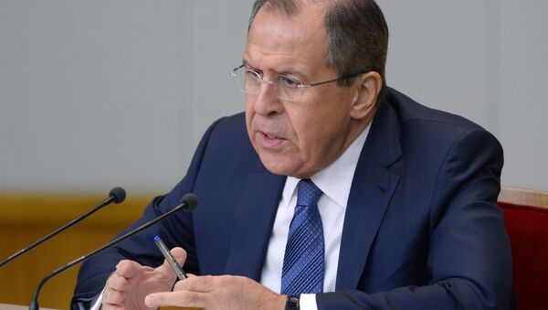 Russian Foreign Minister Sergei Lavrov at a news conference in Moscow. - Sputnik International