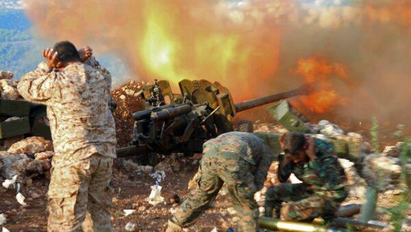 Servicemen of the Syrian army near the village of Salma, Latakia Province - Sputnik International