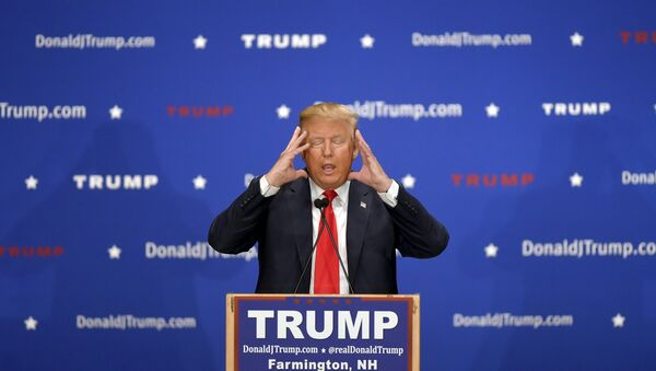 US Republican presidential candidate Donald Trump addresses the crowd at a campaign rally in Farmington, New Hampshire January 25, 2016. - Sputnik International