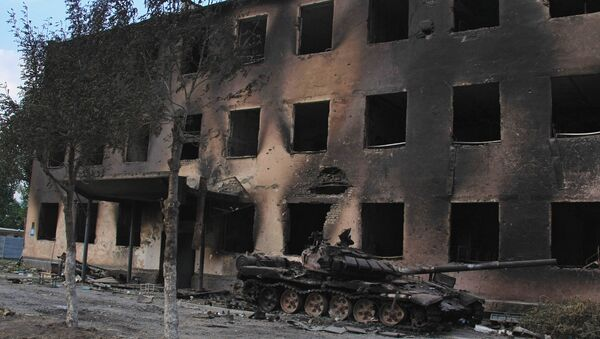 A Russian peacekeepers' destroyed military base in Tskhinvali, South Ossetia. File photo - Sputnik International
