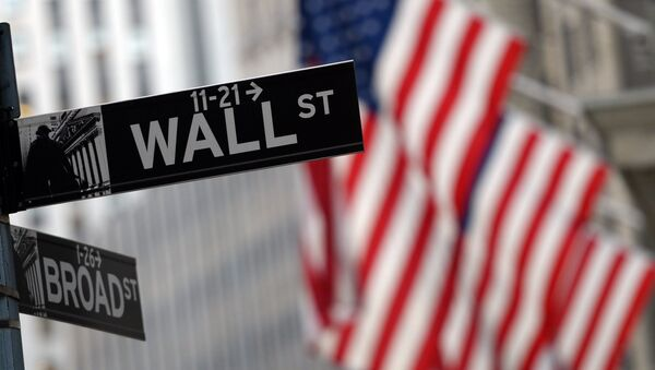 This file photo taken on January 07, 2016 shows a street sign at the corner of Wall and Broad Street across from the New York Stock Exchange - Sputnik International