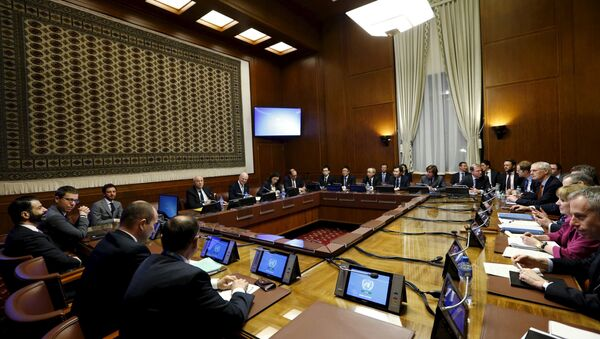 General view of United Nations (U.N.) Special Envoy for Syria Staffan de Mistura attending a meeting on Syria with representatives of the five permanent members of the Security Council (P5) at the United Nations European headquarters in Geneva, Switzerland, January 13, 2016 - Sputnik International