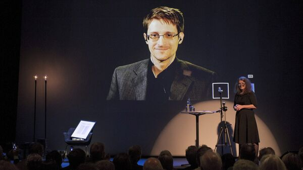 A chair is pictured on stage as former U.S. National Security Agency contractor Edward Snowden is awarded the Bjornson prize Molde, Norway, in this September 5, 2015 file photo - Sputnik International